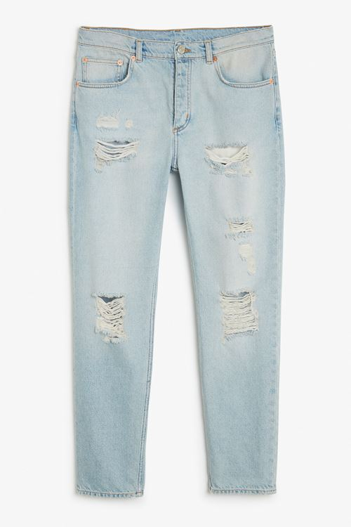 washed denim distressed boyfriend jeans
