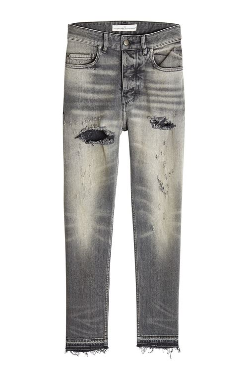 grey destroyed straight leg jeans