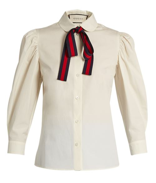 ivory blouse with bow-tie