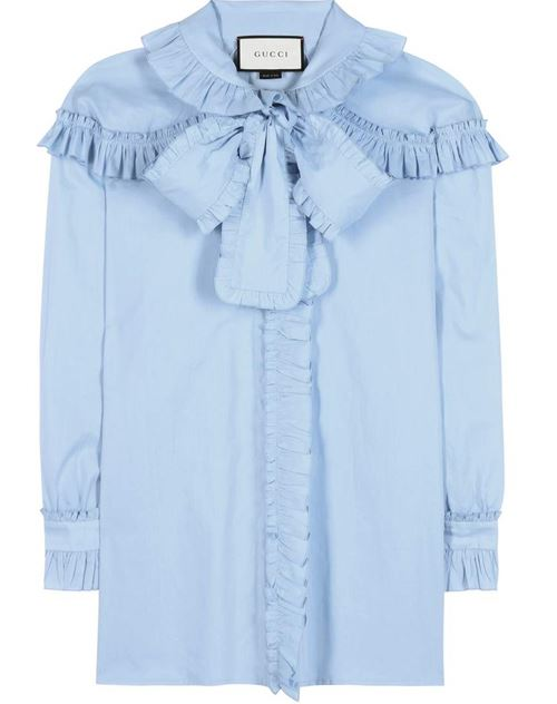 light blue blouse with ruffles and bow-tie