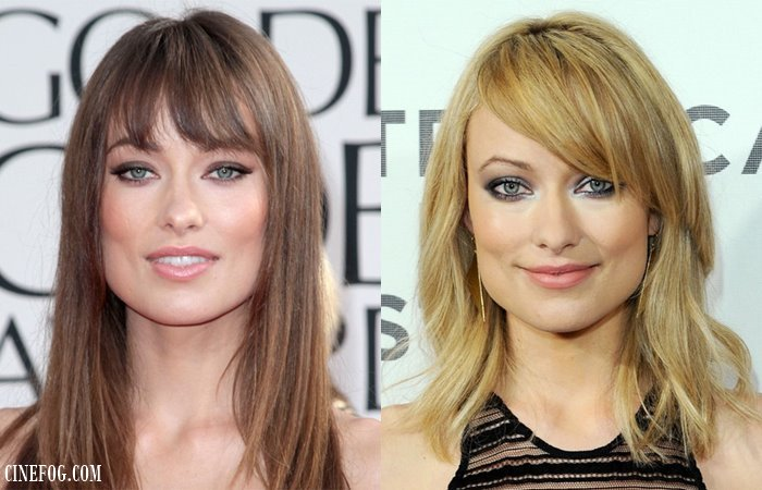 Olivia Wilde hairstyles with straight and side swept bangs