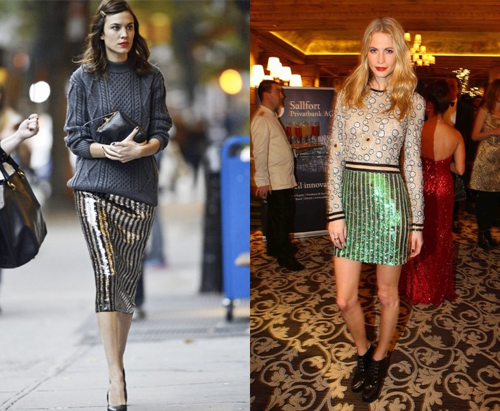 Hot to wear stripe sequin pencil skirts