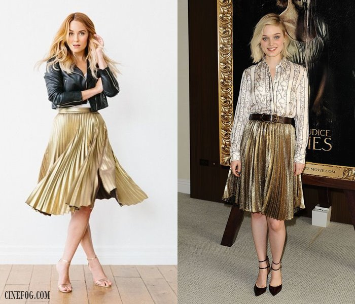 How to wear knee length gold pleated skirts
