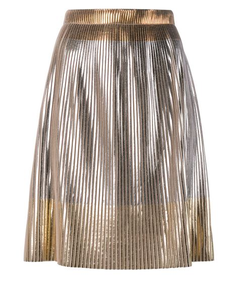 short metallic and gold pleated skirt