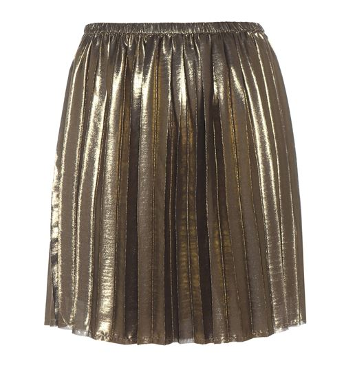mini gold pleated skirt