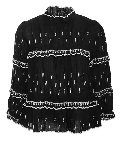 Black high collar Victorian blouse