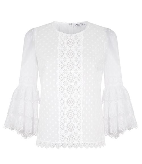 White lace flared sleeves Victorian blouse
