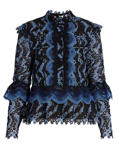 Blue lace ruffle Victorian blouse
