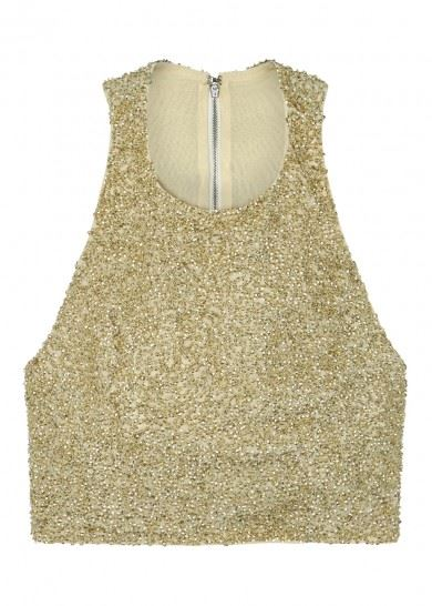 short gold sequin top for party