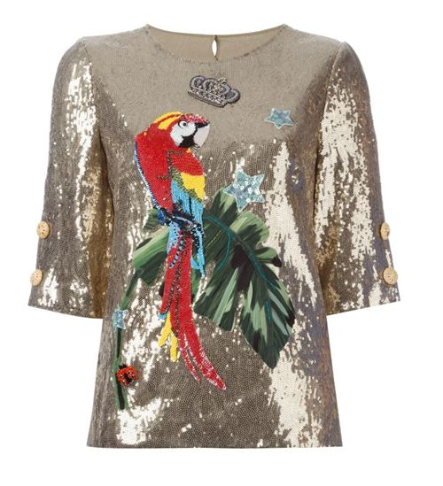 gold sequin top with parrot inlay