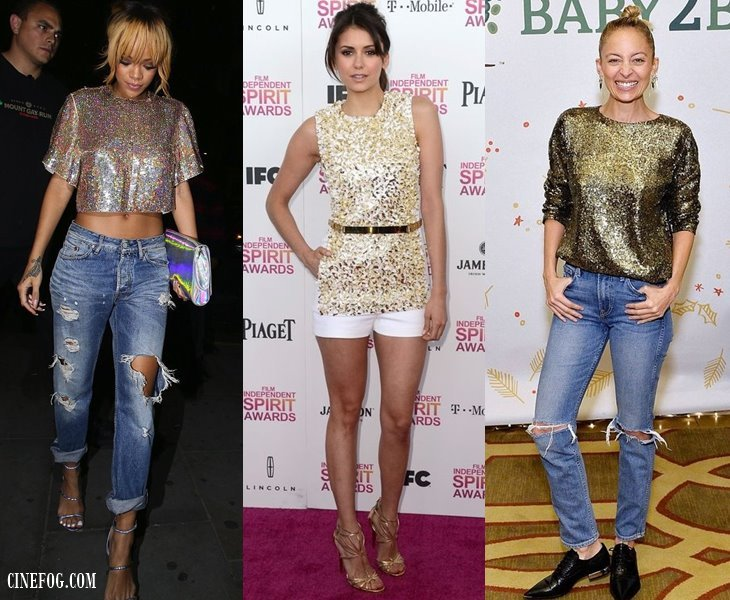 how to wear gold sequin tops with jeand and shorts