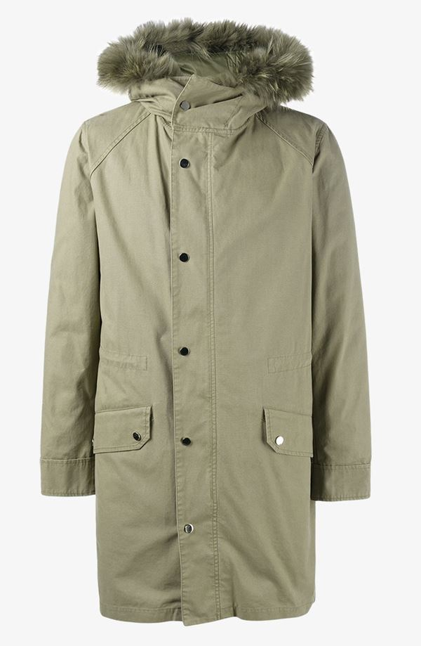 Men's Parka Coats & Jackets 2017  - long light khaki buttoned fur trim