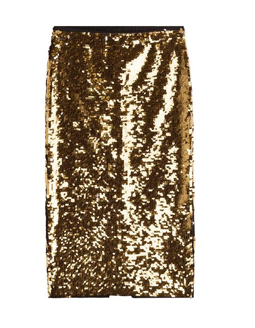bright gold sequin pencil skirt