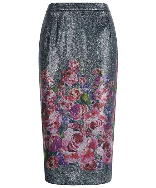 grey midi sequin pencil skirt with floral print