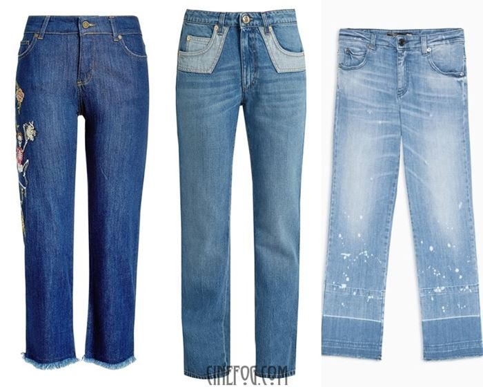blue straight cut jeans embellished