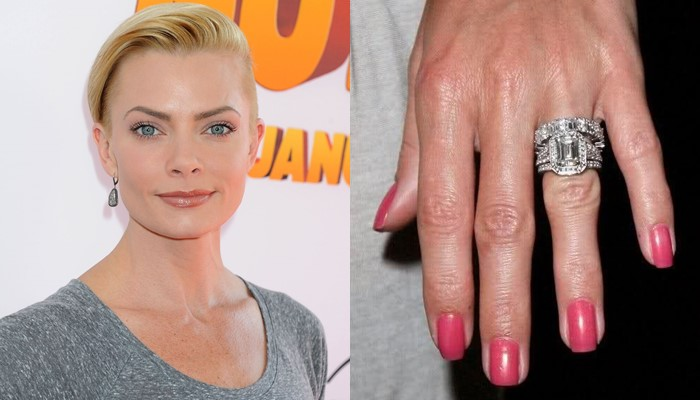 Jaime Pressly  princess cut engagement ring