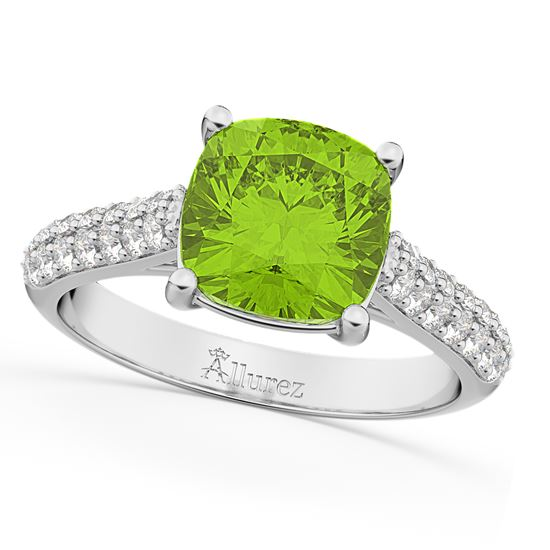 white gold cushion cut green peridote engagement ring