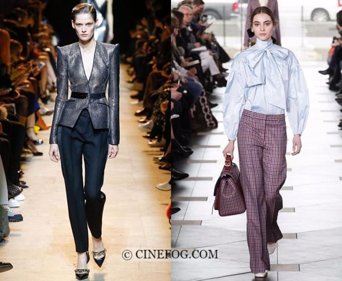 Fall-Winter 2017-2018 Fashion Trends: pants with blazer and bow tie blouse