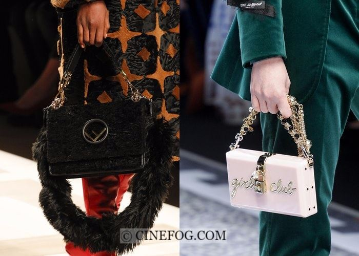 Handbags Fall-Winter 2017-2018 Fashion Trends:  fur and chain handle