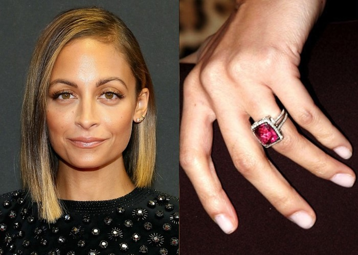 Nicole Richie cushion cut pink sapphire engagement ring