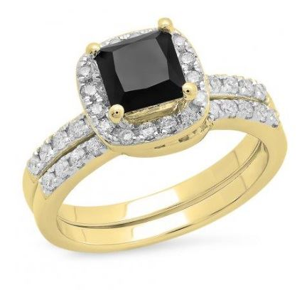 yellow gold black diamond halo engagement ring
