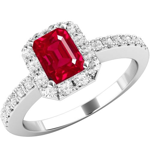 white gold ruby and diamond halo engagement ring