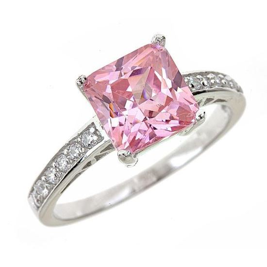 sterling silver pink sapphire engagement ring