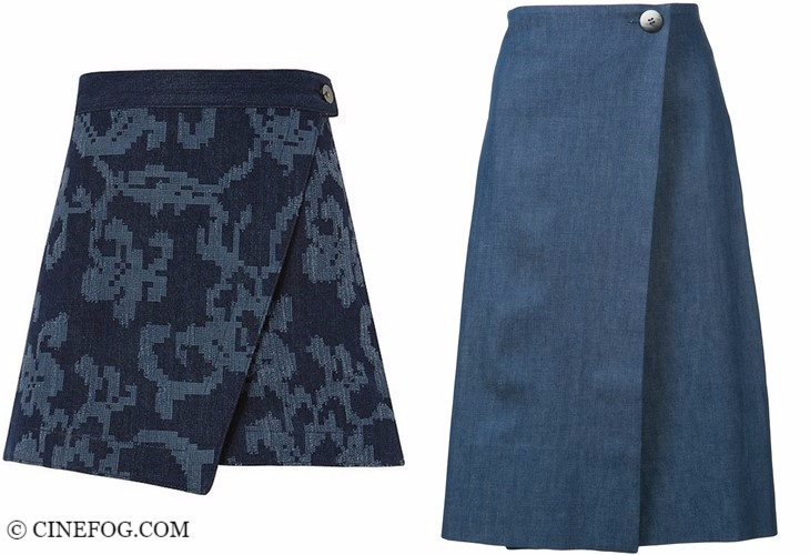 Denim skirts 2017-2018 fashion trends: wrap design A-line