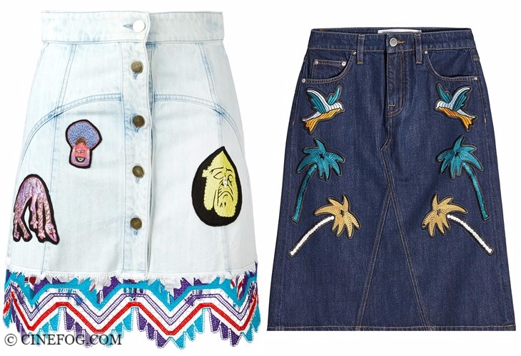 Denim skirts 2017-2018 fashion trends: A-line embroidered