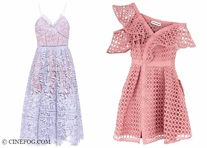 Lace dresses 2017-2018 fashion trends: perforated pink and lilac