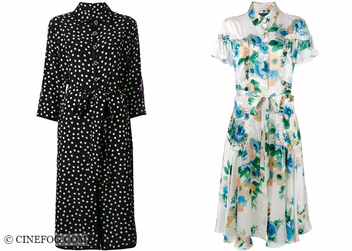 Shirt dresses 2017-2018 fashion trends: black and white polka dot and floral print vintage