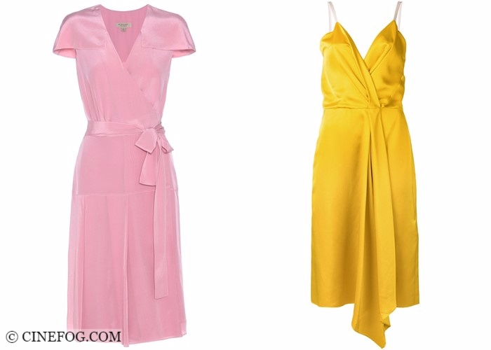 Wrap dresses 2017-2018 fashion trends: satin cocktail pink and yellow