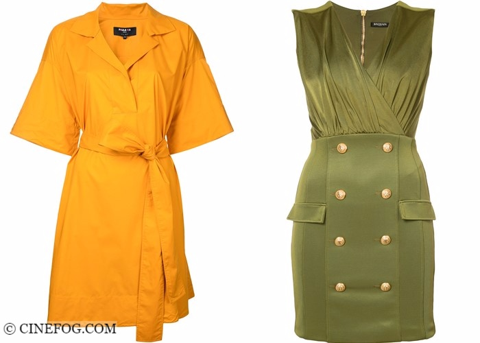 Wrap dresses 2017-2018 fashion trends: yellow and khaki green shirt and military style