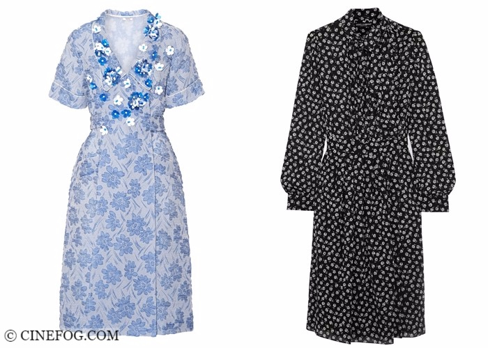 Wrap dresses 2017-2018 fashion trends: vintage style blue floral and black polka dot