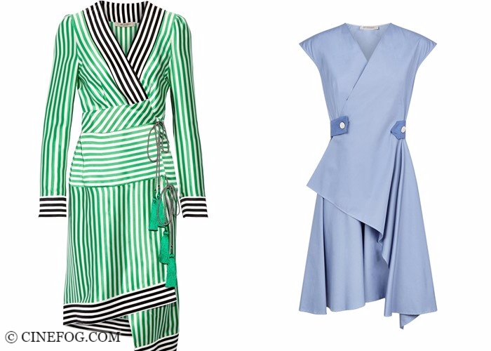 Wrap dresses 2017-2018 fashion trends: asymmetric green and blue