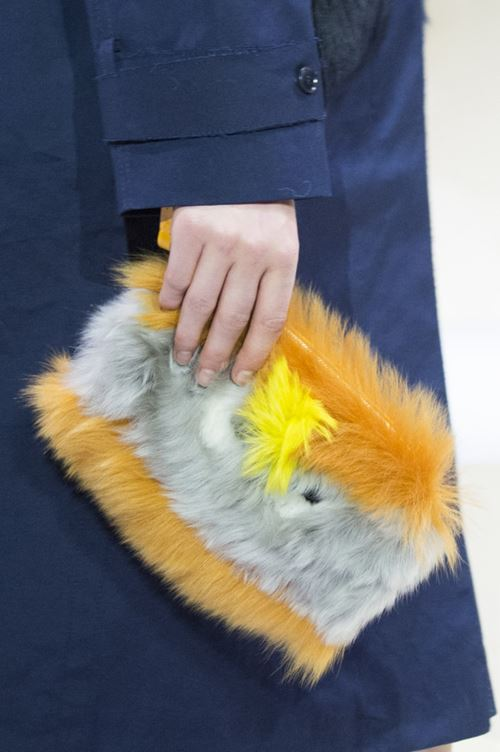Anya Hindmarch handbags Fall/Winter 2017-2018: yellow and gray faux fur clutch