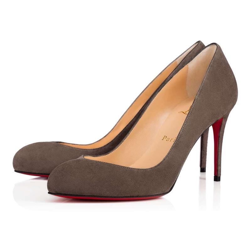 Christian Louboutin Shoe Collection Fall/Winter 2017-2018: taupe suede high heel pumps