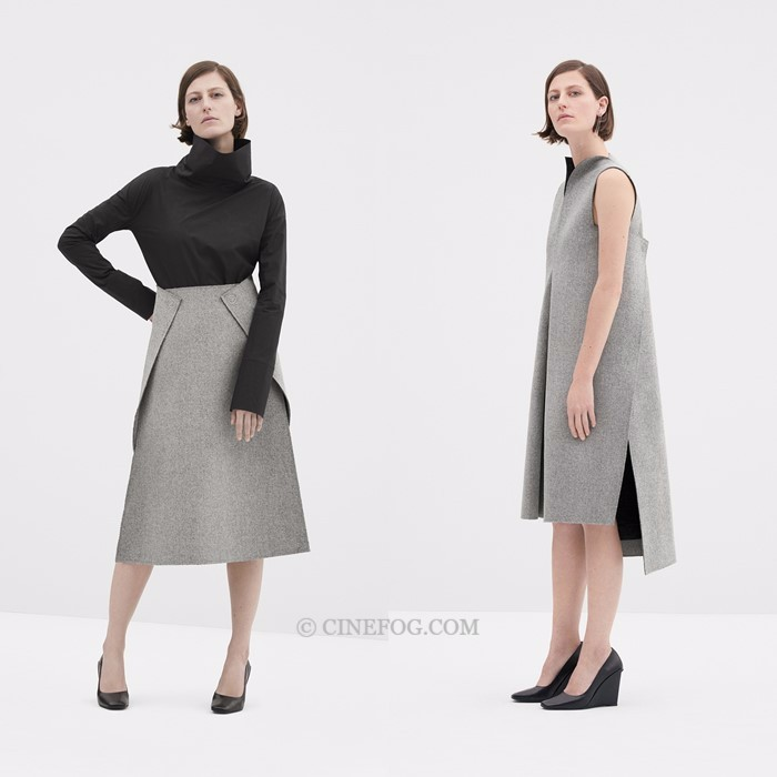 COS Fall/Winter 2017-2018 Collection Lookbook: gray trapezoid skirt and dress with slirt