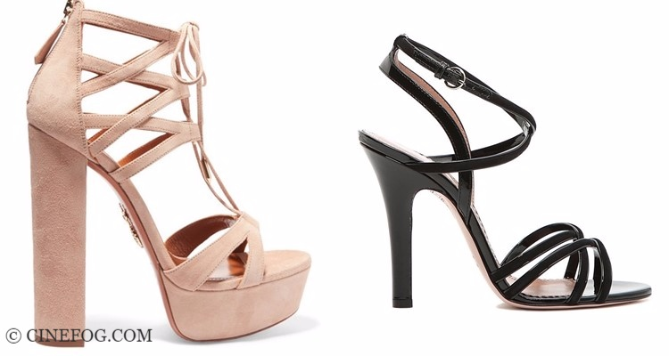 Designer sandals 2017-2018 fashion trends: high heel beige and black with straps