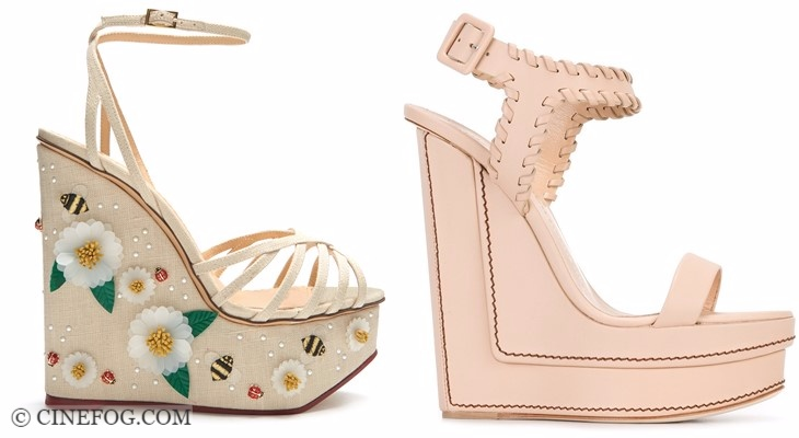 Designer sandals 2017-2018 fashion trends: beige and pink wedge ankle straps