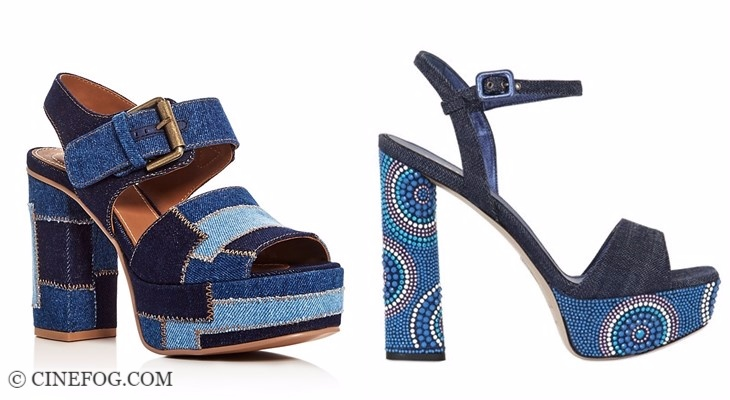 Designer sandals 2017-2018 fashion trends: navy blue denim thik heels