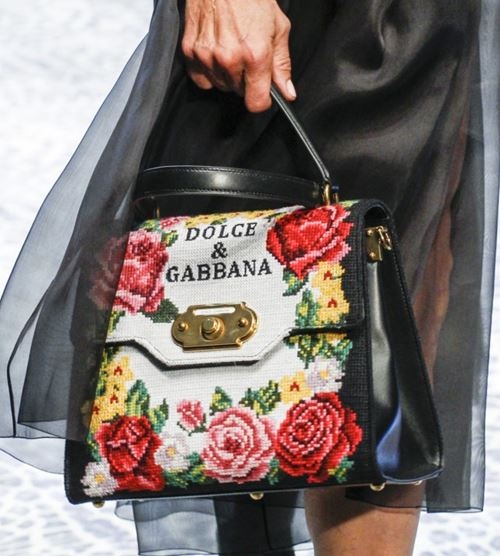 Dolce&Gabbana Handbags & Purses Fall/Winter 2017-2018: black leather with floral embroidery