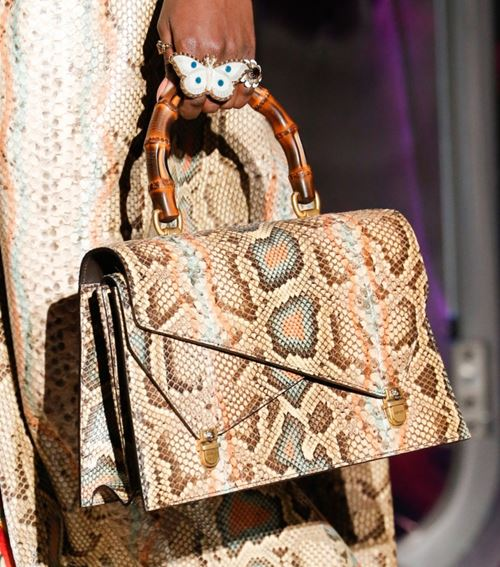 Gucci Handbags Fall/Winter 2017-2018: beige python leather bamboo handle