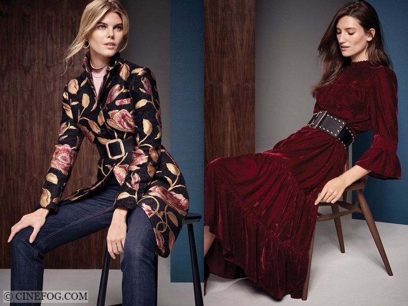 Marks & Spencer Fall/Winter 2017-2018 Collection Lookbook: floral jacket with jeans and burgundy velvet dress
