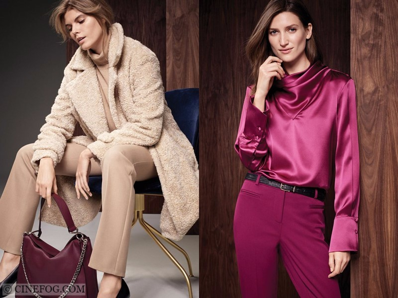Marks & Spencer Fall/Winter 2017-2018 Collection Lookbook: beige outfit with faux fur coat and fucshia blouse and pants