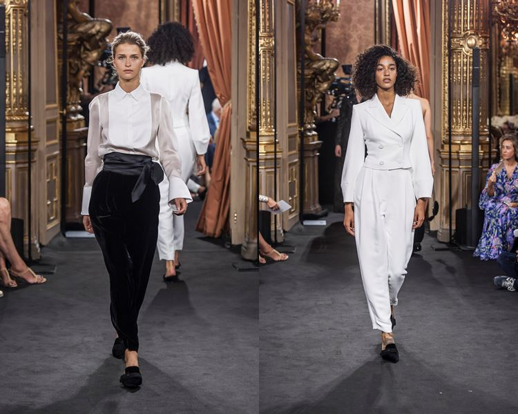 Massimo Dutti Fall/Winter 2017-2018: black pants with white blouse and white pantsuit