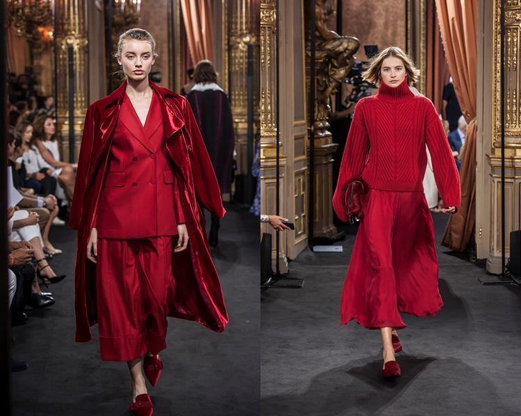 Massimo Dutti Fall/Winter 2017-2018: red total looks - jacket with culottes and sweater with skirt