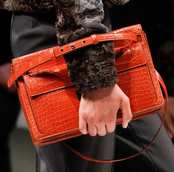 Salvatore Ferragamo Handbags Fall/Winter 2017-2018: orange crocodile leather strap shoulder bag