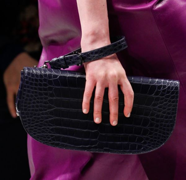 Salvatore Ferragamo Handbags Fall/Winter 2017-2018: navy blue crocodile leather clutch