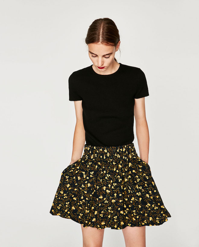 Zara Fall/Winter 2017-2018 Collection Lookbook: black t-shirt with short mini floral skirt